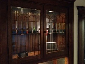 Dining Room Cabinet With Leaded Glass Doors